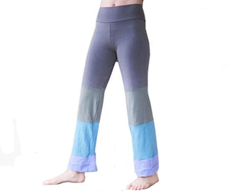 Yoga Lounge Pants - End of the Rainbow, Grey Green Blue Lavender, Handmade, Dance Pants, Patchwork Eco Clothing