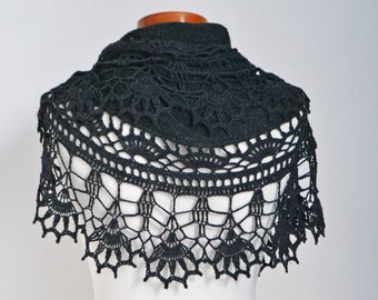 Crochet lace shawl, scarf, lace, anthracite grey, P495