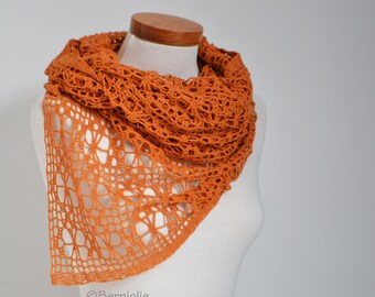 Lace knitted shawl, Orange, P431
