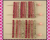 Beads Crystal Strips Fuchsia Rose Clear Swarovski Elements 2 Hole Sliders QTY 20
