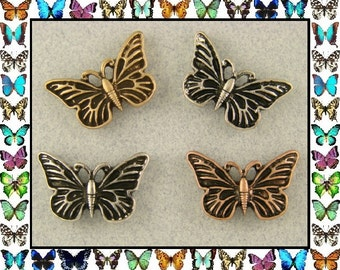 2 Hole Beads Butterfly Butterflies ~ 3T Silver Copper Gold Metal ~ Sliders QTY 4     (SKU 273099364)