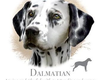 "DALMATIAN Head Dog with Phrase on One 18 x 22 inch inch Fabric Panel for Sewing, Actual Picture is 10"" x 10.5"" on white background."