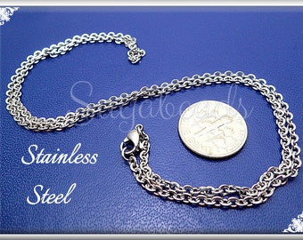 3 Stainless Steel Chains 20 inch - Necklace Chain with Clasps - Stainless Steel Finished Chains CSST4