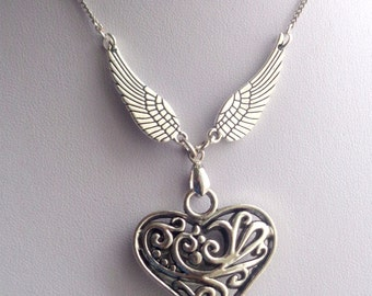 Angel Wings Necklace, Heart Necklace,Heart Pendant Necklace, Heart and Wings Necklace