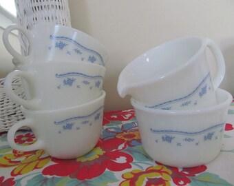 Pyrex Blue Floral on White Sugar Bowl, Creamer, Three Cups - Milk Glass Shabby Vintage Cottage