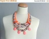 Tribal statement colorful necklace, orange black white