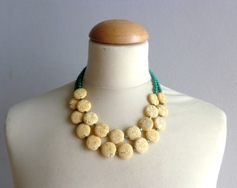 bridal jewelry,chunky yellow green necklace