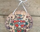 Home Sweet Home, Tattoo Illustrated Nautical SeaShell, Swallow Design, Housewarming Gift