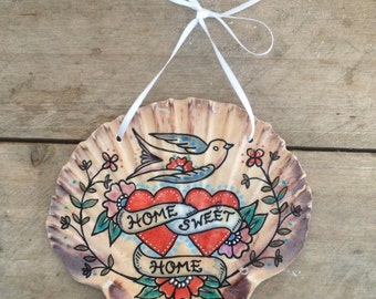 Home Sweet Home, Tattoo Illustrated Nautical SeaShell, Swallow Design, Housewarming Gift