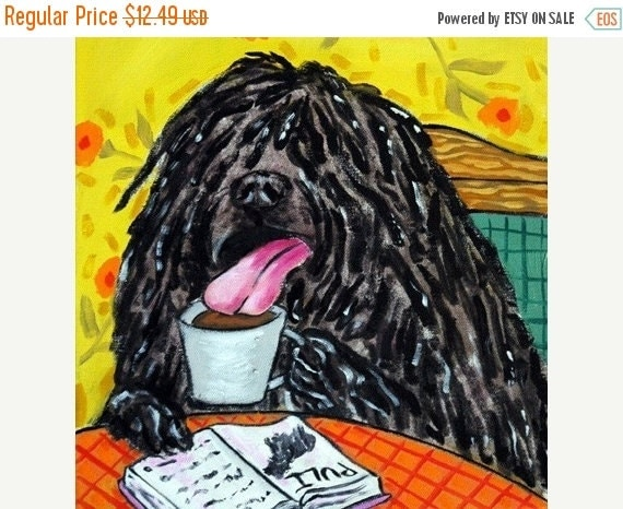 ON SALE Puli at the Coffee Shop Dog Art Tile