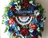 sale, XL Patriotic door wreath, 4th of July wreath, Floral wreath, Memorial Day wreath, USA,  Americana, Summer, Labor Day