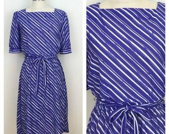 80s Jordache Purple Striped Short Sleeve Midi Dress, Size Medium