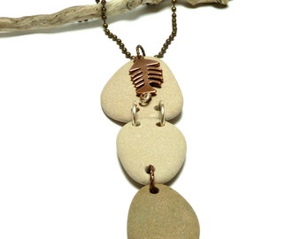 Genuine Drilled Beach Stone MIXED MEDIA Pagoda Dangle Beach Linked Pebbles River Rock Ready Necklace Pendant Jewelry Connected Rocks