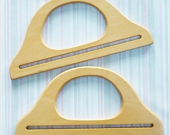 1 pair of wooden bag handles ( Natural Color ) supply wood