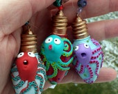 3 Cute Octopus Light Catcher, Bird Halt, Sun Catchers made with Recycled Christmas Tree Light Bulbs and Polymer Clay
