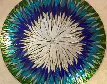 "24"" ANY COLOR- 4 Week Lead time Floral Handmade Glass Mosaic Mirror"
