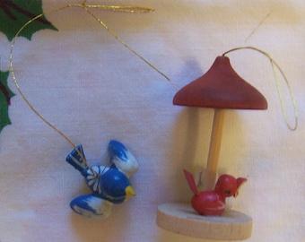 little wooden birds ornaments