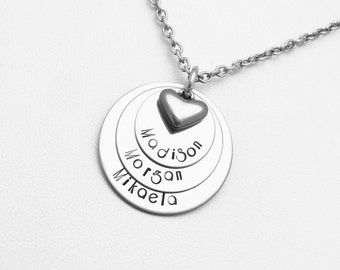 Engraved Necklace - Hand Stamped 3 Layer Necklace - Mom gift - Nana gift - Grandma gift - Engraved Necklace - Shower Gift - Mommy Jewelry