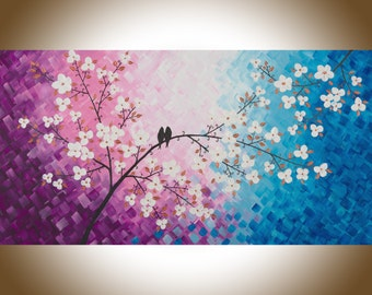 Copper white Blue purple Love birds art extra large wall art blue purple Violet white flowers painting wall decor wall hanging qiqigallery