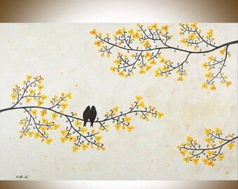 """Acrylic Birds art yellow flowers tree Painting wall decor wall hangings Impasto Palette Knife home Office Wall art """"Just Us"""" by QIQIGALLERY"""