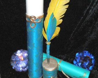 GOLD Teal SILK Scroll Case, Quill & Parchment, Fairy, Pagan, Wicca, Magic, Ritual