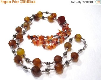 50% Off Vintage Multi colored Red Agate strand, 24 inch handmade necklace created in Thailand during the early 1990s. TVJ1006 C16