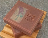 Sale - Handcrafted Soap in a Vanilla Oak Scent with Raspberry Patchouli Swirled Embeds