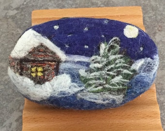 Felted Coconut Milk Soap - A Winter's Night Scene in a Cranberry Fragrance
