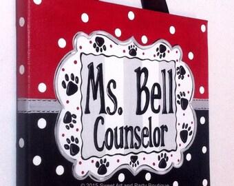 Teacher name sign, Teacher gift, Classroom wall art, teacher, door sign, canvas name sign, name sign, Red, Black, Gray, Dots, Classroom art