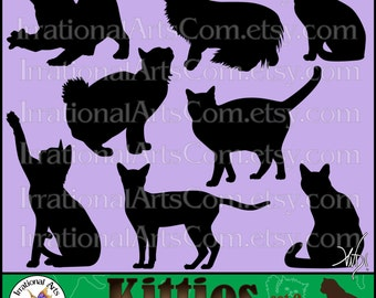 Kitties Silhouettes set 2 with 8 Vinyl Ready Images digital clipart graphics Cat Silhouettes EPS, SVG & PNG formats {Instant Download}