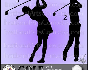 Golf Silhouettes set 9 - Vinyl Ready Images 2 EPS SVG & Png clipart graphics + SCL [Instant Download]