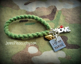 BRACELET: I Love My Marine or Marine wife Boot Band Blouser bracelet SSG23 usmc semper fi army military navy air force usaf usn girlfriend