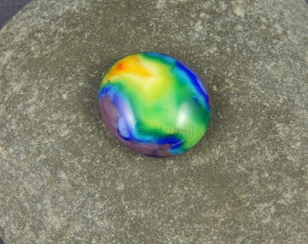 "Handmade art glass cabochon ""Rainbow Tie-Dye"", lampworked and slumped FHFteam Y3, SRA, GBUK"