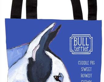Bull terrier canvas tote, bull terrior customizable canvas beach bag, grocery bag, bull terrier handbag, dog art custom fashion gift
