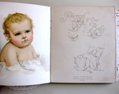 Vintage Baby Book, Ernest Nister, Beautiful Lithogrpahs, Lock of Hair, Blank Pages