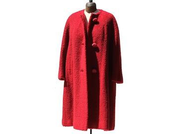 Vintage Fabulous Red Vintage Coat / Wool Coat