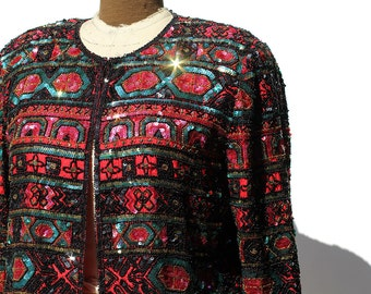 Vintage Colorful Sequin Geometric Pattern Silk Evening Jacket
