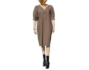 Toffee Bar Brown Boxy Dress / Midi dress