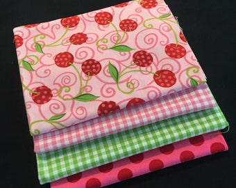 SALE 4-pc. Fat Quarter Set PINK & Green Gingham Check Fq #50 Robert Kaufman Cotton Quilt Fabric 1 Yard Total Exactly as Shown FREE Shipping
