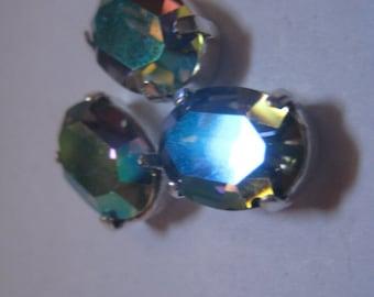 Lot of 3 14x10mm  Black Diamond Glacier Blue Oval Shaped Swarovski Rhinestones in Sew on Settings