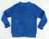 indigo overdyed 1980s LL Bean Irish wool pullover sweater, women's m