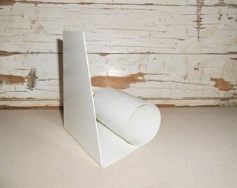 Vintage Mod White Book End, Book Holder, Office Decor, Metal Book End