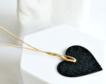 Black Glitter Heart Tags {10} Labels - Scrapbooking Embellishments - Wedding Engagement Christmas Celebrations Valentine