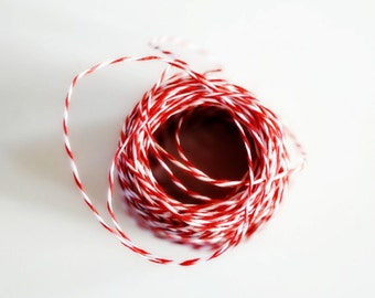 Festive Red and White Twine {20.0m} Thin Cotton Stripe Bakers Twine {4ply} | Holiday Gift Wrap | Christmas in July