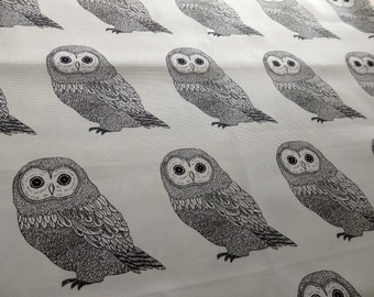 Owl Fabric, Owl Drawing, Sketch, Illustration, Oxford Cloth Cotton Fabric Remnant in Black and White - 50 cm cut