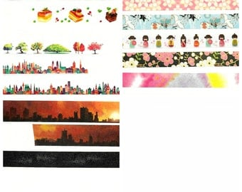 Japanese Washi Tape, Japanese Masking Tape, Food Masking Tape, City Masking Tape