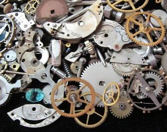 1 oz 28 grams Vintage Watch movements parts cogs gears Steampunk Z 69