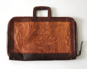 Tan Leather Briefcase Bag Handtooled Leather
