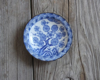 Blue & White Cherry Blossom Porcelain Plate / Great Ring Dish