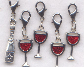 Wine Glasses Stitch Markers Fruit of The Vine Vino Red Wine Set of 5/SM104B clips